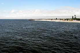 View from the Jetty towards the Lighthouse of Swakopmund